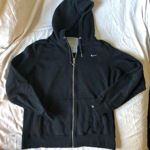 Nike Hoodie Black size Large ribbed sides